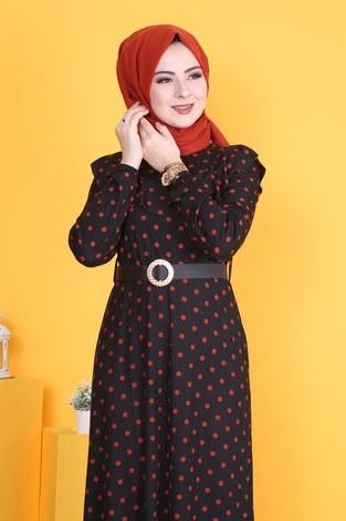 - Puantiyeli Volanlı Elbise 15466-01 (1)