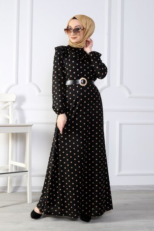 - Puantiyeli Volanlı Elbise 15466-03