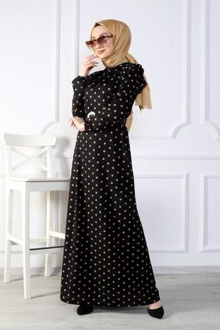 - Puantiyeli Volanlı Elbise 15466-03 (1)