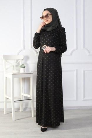 - Puantiyeli Volanlı Elbise 15466-04