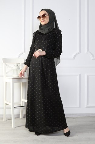 - Puantiyeli Volanlı Elbise 15466-04 (1)