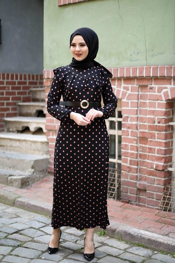 Puantiyeli Volanlı Elbise 15466-05