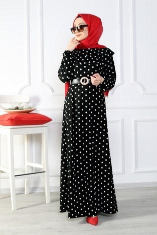 - Puantiyeli Volanlı Elbise 15466-02