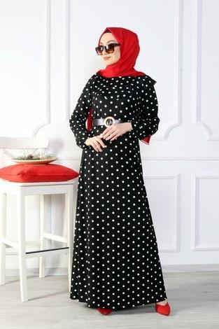 - Puantiyeli Volanlı Elbise 15466-02 (1)
