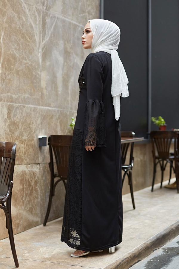 Pul Payet Dantelli İkili Takım 9963-1 Siyah