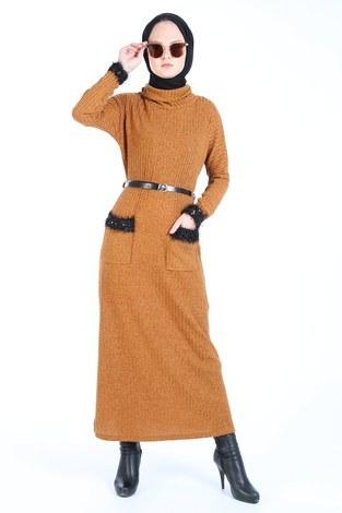 - Pul Payet Detaylı Elbise 1389-16 taba