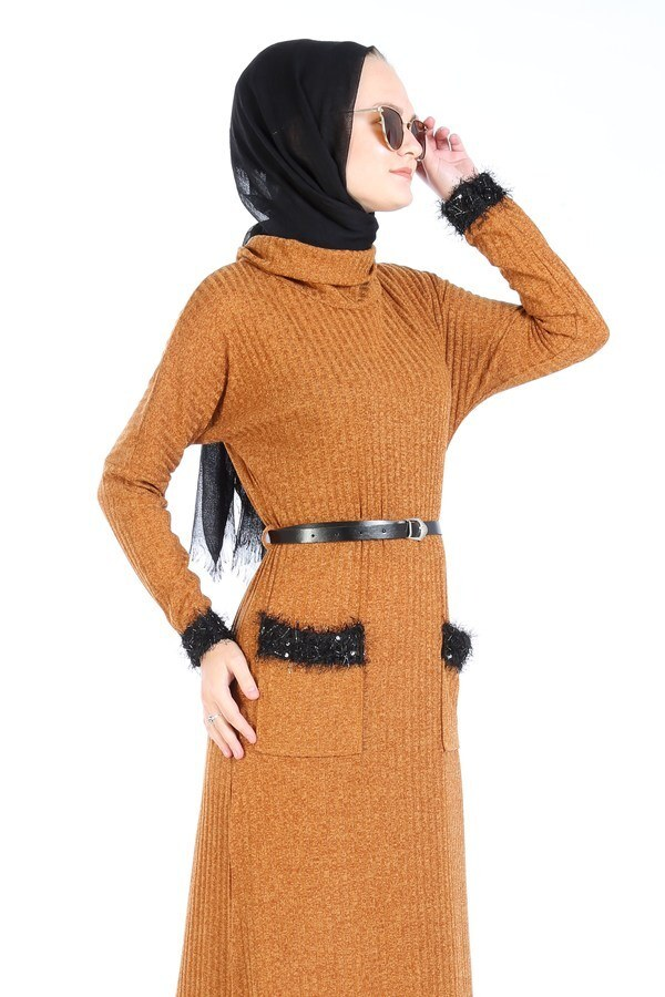Pul Payet Detaylı Elbise 1389-16
