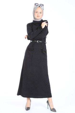 Pul Payet Detaylı Elbise 1389-21 füme - Thumbnail