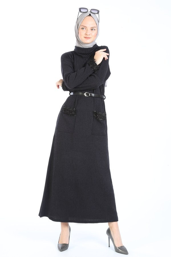 Pul Payet Detaylı Elbise 1389-21 füme