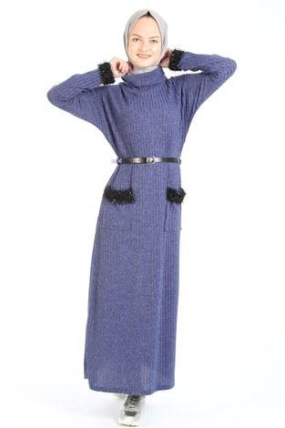 - Pul Payet Detaylı Elbise 1389-08 indigo
