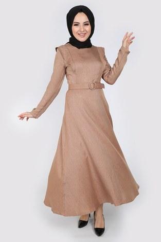 - Kemerli Elbise 6330-11 bej