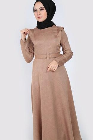 - Kemerli Elbise 6330-11 bej (1)