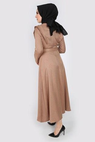Kemerli Elbise 6330-11 bej - Thumbnail