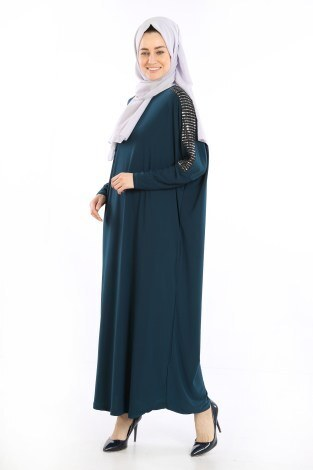 - Pul Payet Detaylı Elbise 1550-07