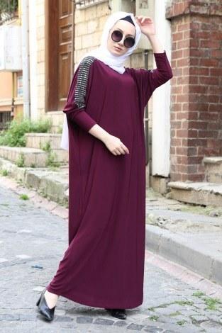 - Pul Payet Detaylı Elbise 1550-12