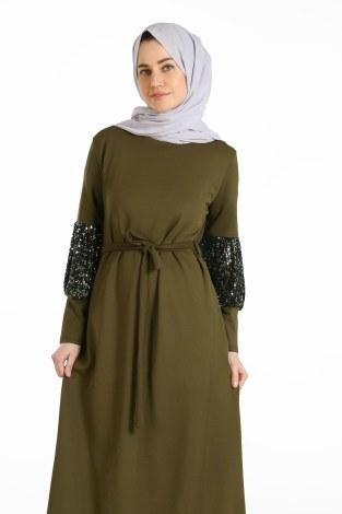 - Pul Payet Detaylı Elbise 1668-03 (1)