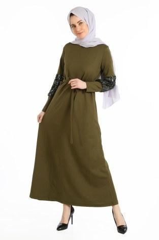 - Pul Payet Detaylı Elbise 1668-03