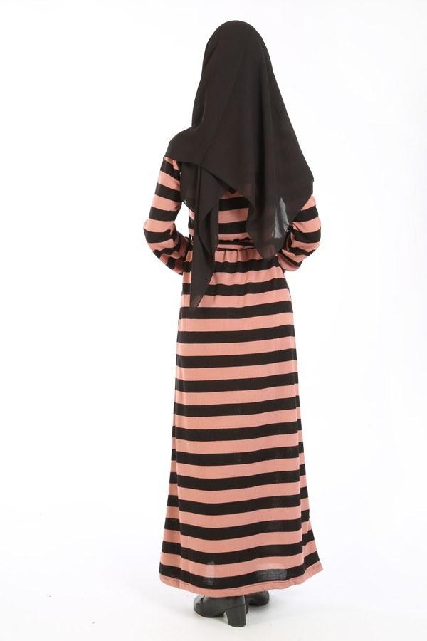 Çizgili Triko Elbise 8541-18 gülkurusu