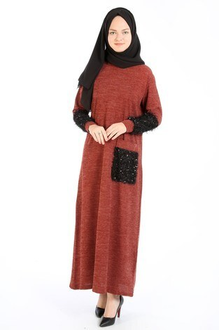 - Pul Payet Detaylı Elbise 2801-15