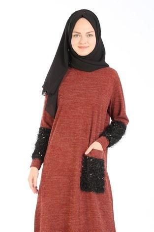 - Pul Payet Detaylı Elbise 2801-15 (1)