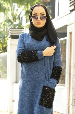 - Pul Payet Detaylı Elbise 2801-08 (1)