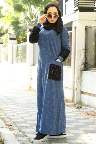 - Pul Payet Detaylı Elbise 2801-08