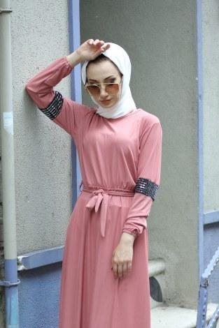 - Pul Payet Detaylı Elbise 4937-09 (1)