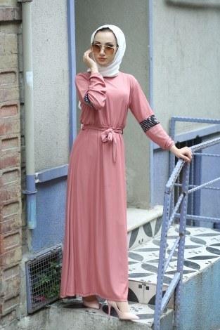 - Pul Payet Detaylı Elbise 4937-09