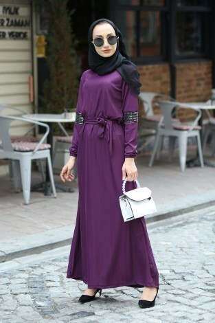 - Pul Payet Detaylı Elbise 4937-13