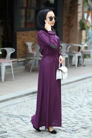 Pul Payet Detaylı Elbise 4937-13 - Thumbnail