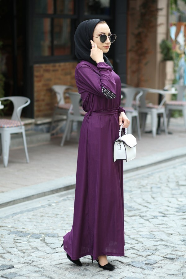 Pul Payet Detaylı Elbise 4937-13