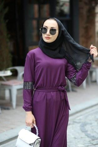 - Pul Payet Detaylı Elbise 4937-13 (1)