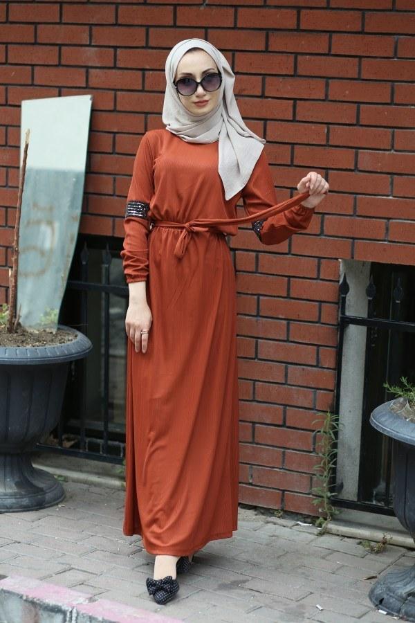 Pul Payet Detaylı Elbise 4937-16