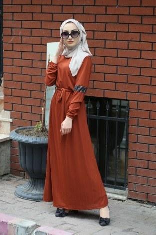 Pul Payet Detaylı Elbise 4937-16 - Thumbnail