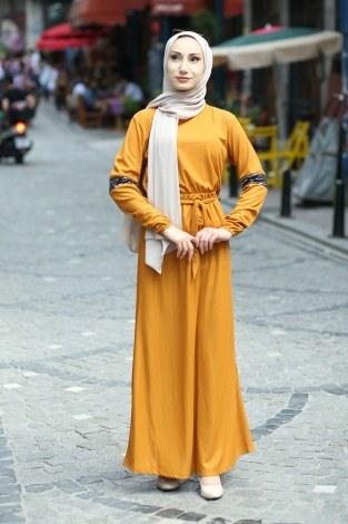 - Pul Payet Detaylı Elbise 4937-10