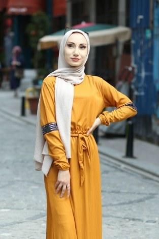 - Pul Payet Detaylı Elbise 4937-10 (1)