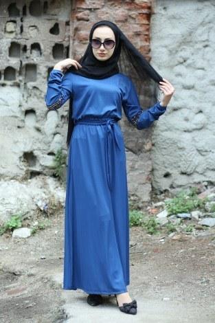 Pul Payet Detaylı Elbise 4937-08 - Thumbnail