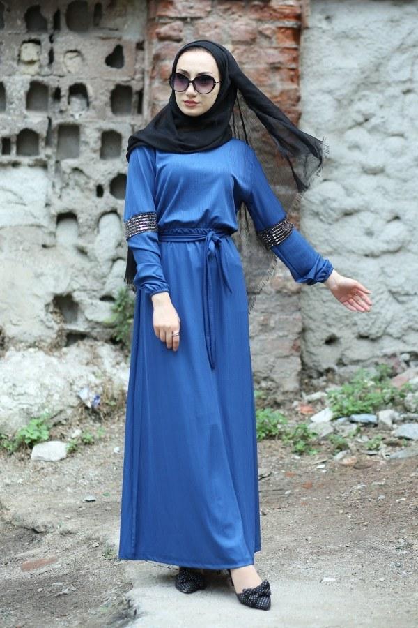 Pul Payet Detaylı Elbise 4937-08