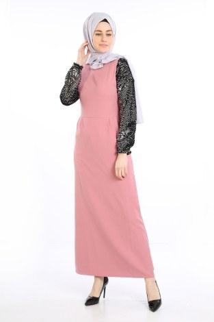 - Pul Payet Detaylı Elbise 5560-02