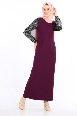 - Pul Payet Detaylı Elbise 5560-04