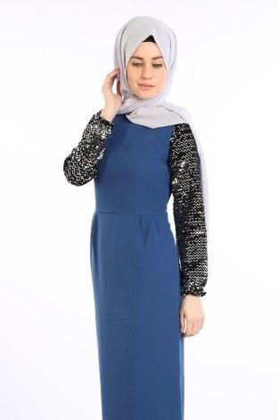 - Pul Payet Detaylı Elbise 5560-05 (1)