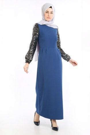Pul Payet Detaylı Elbise 5560-05 - Thumbnail