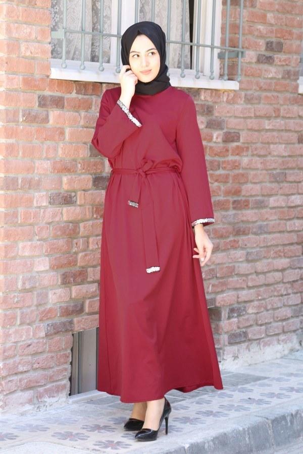 Pul Payet Detaylı Elbise 5603-02