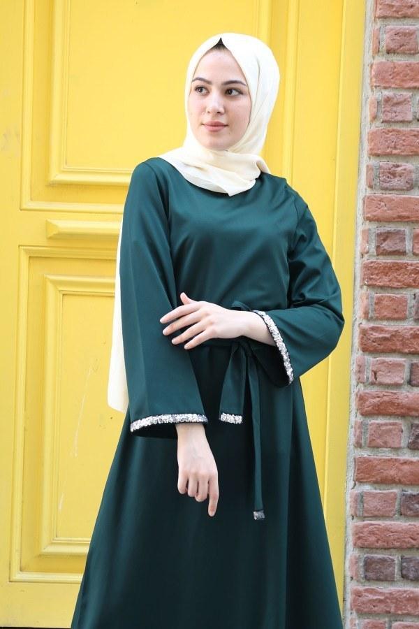 Pul Payet Detaylı Elbise 5603-04