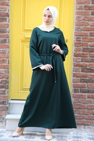 Pul Payet Detaylı Elbise 5603-04 - Thumbnail