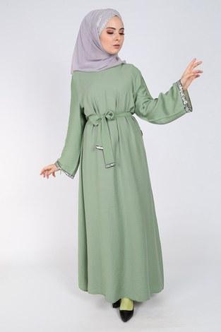 - Pul Payet Detaylı Keten Elbise 5603-06