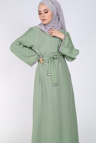 - Pul Payet Detaylı Keten Elbise 5603-06 (1)
