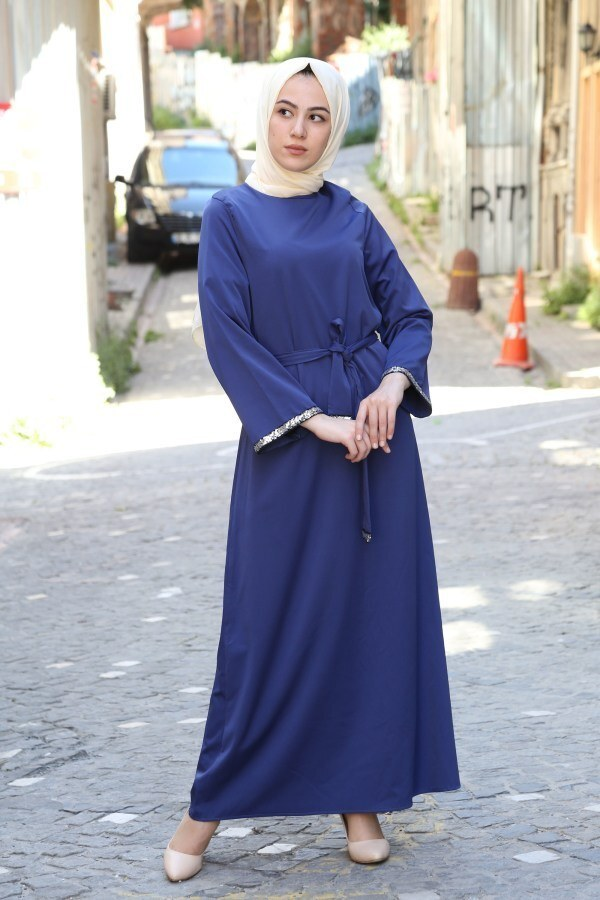 Pul Payet Detaylı Elbise 5603-09