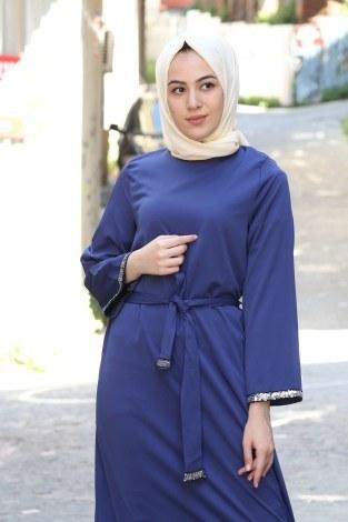 Pul Payet Detaylı Elbise 5603-09 - Thumbnail