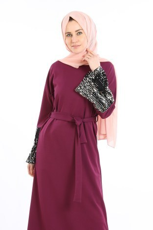 - Pul Payet Detaylı Elbise 5664-02 (1)